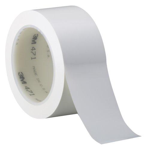 3M Vinyl Tape 471, White, 1 in x 36 yd, 5.2 mil