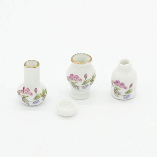 - NATFUR 4 Pieces 1/12 Dollhouse Miniatures Floral Vases Flowerpots Decoration