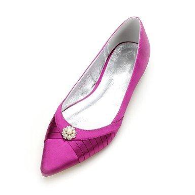 RTRY Las Mujeres'S Wedding Shoes Confort Satin Primavera Verano Boda Vestido De Noche &Amp; Rhinestone Bowknot Champán Heelivory Plana Rubí Azul US6.5-7 / EU37 / UK4.5-5 / CN37