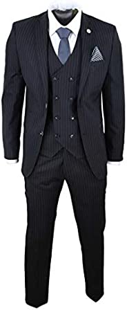 TruClothing.com Mens 3 Piece Suit Gatsby 1920s Peaky Blinders Gangster Pinstripe Tailored Fit