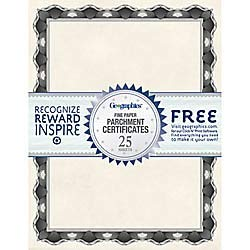 Geographics 30% Recycled Blank Parchment Certificates, 8 1/2