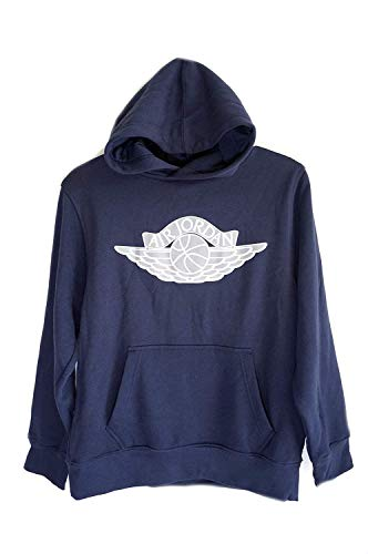 NIKE Air Jordan Wings Logo Big Boys' Pullover Hoodie Navy Blue (Medium)