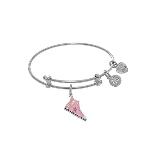 Enamel Shoe Charm Bracelet (White Brass Pink Enamel Cubic Zirconia Sneaker Shoe Charm Small Children Bangle Bracelet)