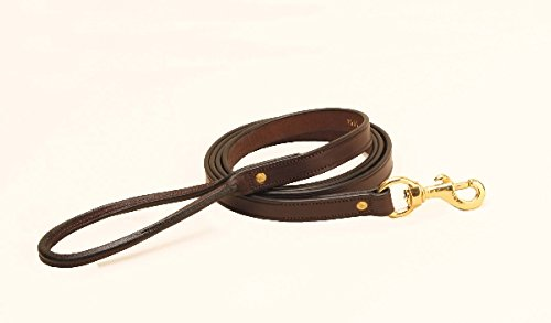 Tory Leather 3 4  x 6' Plain Leather Creased Dog Leash with Rolled Hand Hold Oakbark, 3 4