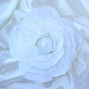 """Efavormart 4 Pack 12"""" 3D Craft Rose White Real Feel Foam Rose for DIY Wedding Bouquets Arrangements Party Home Decorations 33"""