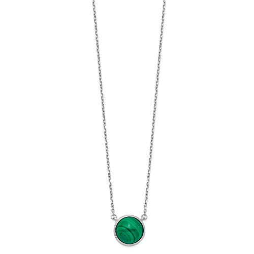 Sterling Silver Rhodium-plated Round Malachite Cabochon Necklace - 17.5 Inch ()