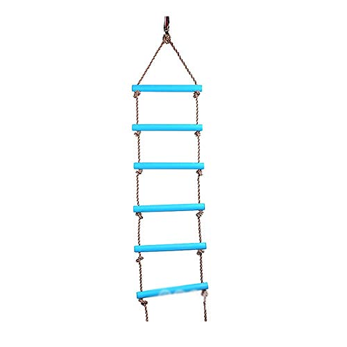 GYZ Climbing Ladder Children's Wooden Ladder Swing Indoor Outdoor Puzzle Early Childhood Kids Toys Six-Speed Rope Climbing Ladder - Blue Outdoor Toys by GYZ (Image #4)