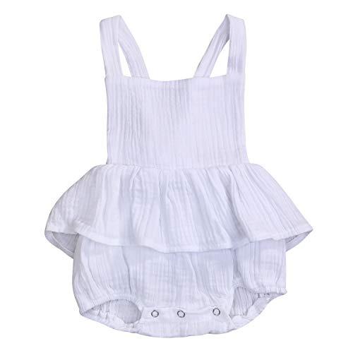 (Baby Girl Romper Infant Girls Sleeveless Halter Ruffled Jumpsuit Bowknot Summer Onesie (White, 18-24 Months))