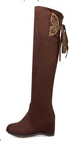 Chfso Moda Donna Solido Fiocco Impermeabile Metà Polpaccio Mid Tacco Alto Ginocchio Stivali Invernali Cavaliere Marrone