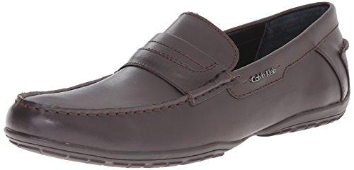 Calvin Klein Men's Walden Leather Slip-On Loafer, Dark Brown, 10.5 M US by Calvin Klein