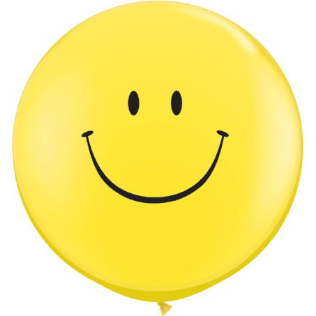 Qualatex 29211 Smile Face - Yellow Latex Balloons, 36