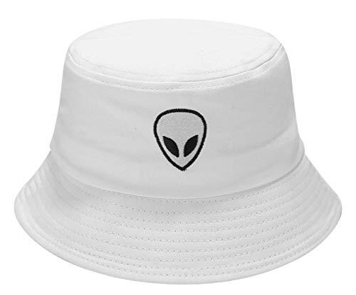 Alien Embroidered Bucket Hat Packable Fisherman Cap Unisex Outdoor Hat Trendy Sun Hats