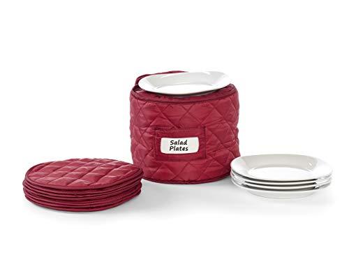(Covermates - Round Salad Plates Storage 9 DIAMETER x 7H - Diamond Collection - 2 YR Warranty - Year Around Protection - Red)