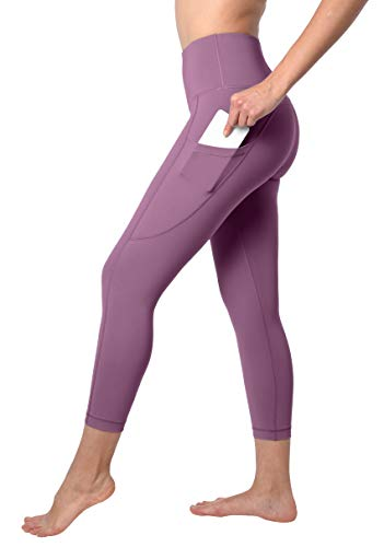 90 Degree By Reflex Squat Proof Side Phone Pocket Yoga Capris - High Waist Cropped Leggings - Fig Berry - XS