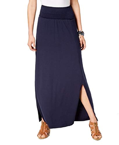 (Style & Co. Smocked-Comfort-Waist Maxi Skirt (Industrial Blue, XS))