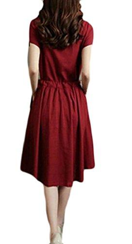 Jaycargogo Lin Femmes Coton Été Robe Vintage Avec Fente Cordelette Rouge Vin De Poche