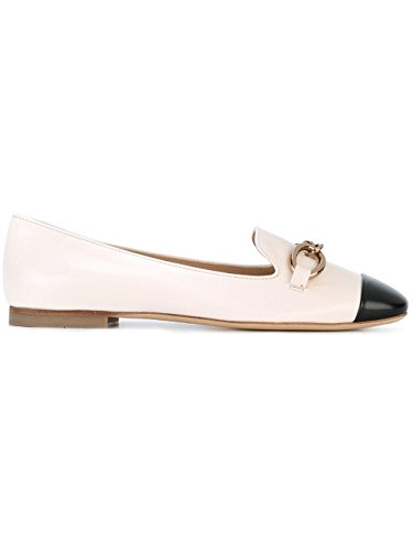 Tod's Women's XXW13A0S840FZT0H62 White/Pink Leather Flats