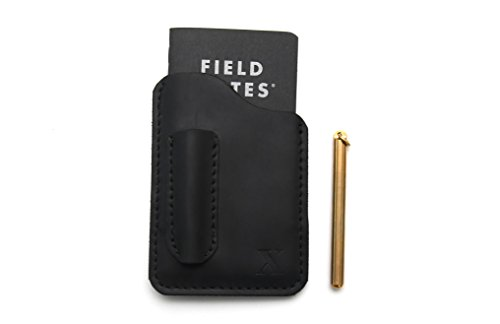 Handmade Refillable Leather Notebook Moleskine Cover, Field Note Covers 3.5''x5.5'' Black with Pen and Credit Card Holder by 90X