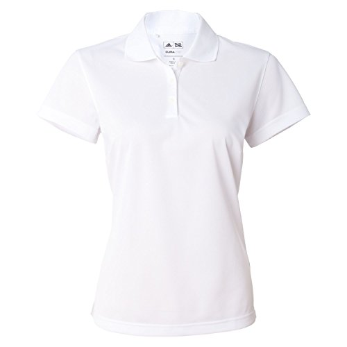 Adidas Women'S Golf Climalite Basic Performance Pique Polo White M
