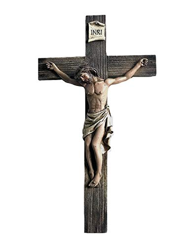 (Polly House 14 Inch Jesus Nailed On The Cross Resin Stone Wall Cross Crucifix)