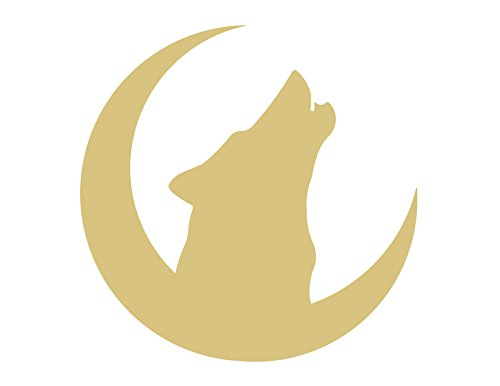 Wolf Moon Cutout Unfinished Wood Howling Coyote Dog Canine Wild Animal MDF Shape Canvas Style 1 (12