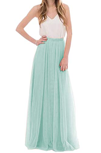 Omelas Womens Long Floor Length Tulle Skirt High Waisted Maxi Tutu Party Dress (Mint, L)]()