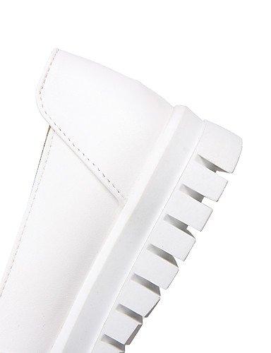 GGX/ Damen-High Heels-Outddor / Büro / Lässig-PU-Niedriger Absatz-Komfort / Rundeschuh-Schwarz / Weiß / Mandelfarben almond-us7.5 / eu38 / uk5.5 / cn38