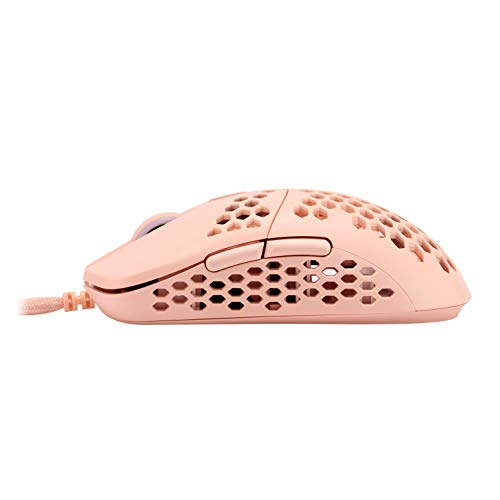 HK Gaming Mira S Ultra Lightweight Honeycomb Shell WiredRGB Gaming Mouse - Up to 12 000 cpi | 6 Buttons - 61g Only (Mira-S, Rose Quartz)