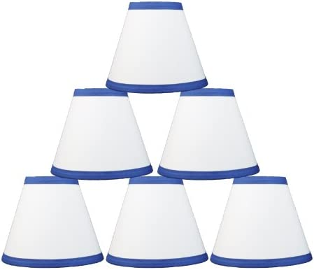 Urbanest White Cotton with Blue Trim Chandelier Lamp Shades, 6-inch, Hardback Clip On Set of 6