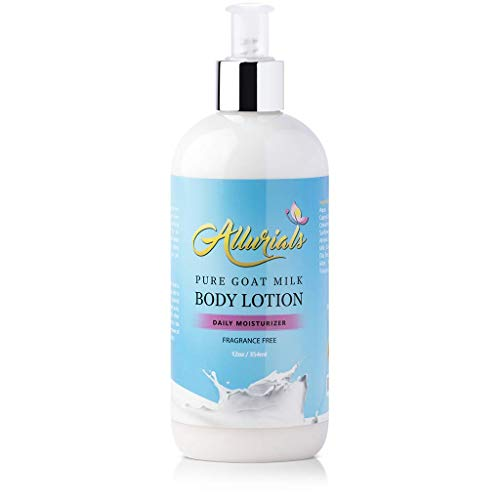 Pure Hydrating Goat Milk Lotion: Fragrance Free Body Moisturizer with Shea Butter, Coconut Milk, Honey and Argan Oil for Dry, Cracked and Sensitive Skin - Cruelty Free - 12 Ounce Bottle with Pump (Bottle Lotion Hair 12 Oz)