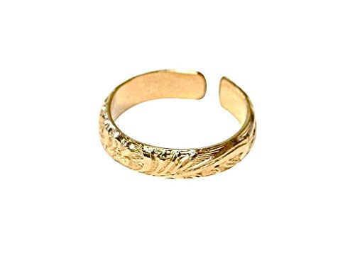 14K solid gold toe ring with leaf pattern