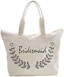 ElegantPark Bridesmaid Tote Bag for Wedding Gifts Zip Canvas 100% Cotton 1 Pcs -