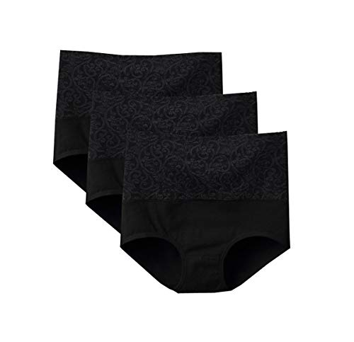 Lashapear Womens High Waist Underwear Solid Color Tummy Control Cotton Brief Panties 3 Pack, Black, Medium