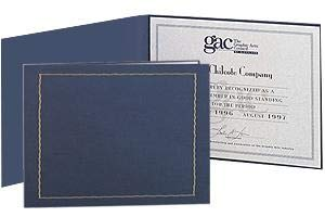 Blue Certificate Folder frame w/gold foil border and acetate cover sold in 10's - 8.5x11