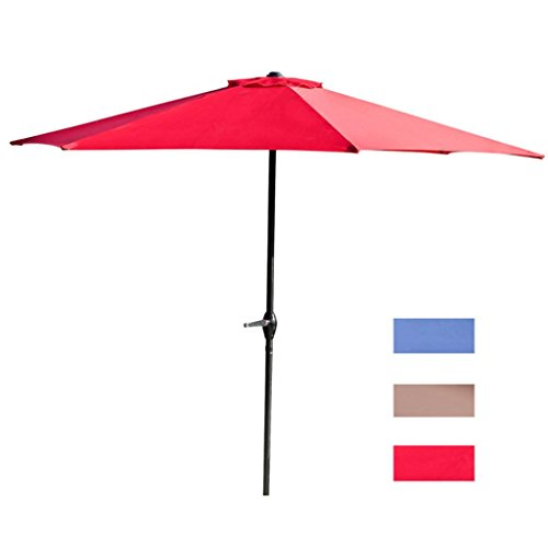 Wide Angle Sunshade - Rumas UA Protection Waterproof Outdoor Patio Umbrellas, Solid Corrosion Resistant Offset Umbrellas 9Ft - Shipped from Western US (Red)