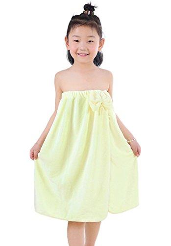Yellow Spa Wrap (Horcute Bowknot Kids Spa Bath Towel Wrap Yellow)