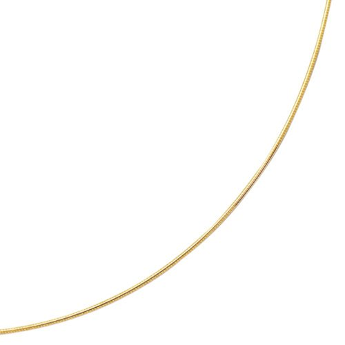 Jewelstop 14k Yellow Gold 1.5 mm Round Omega Necklace, Lobster Claw Clasp – 16″