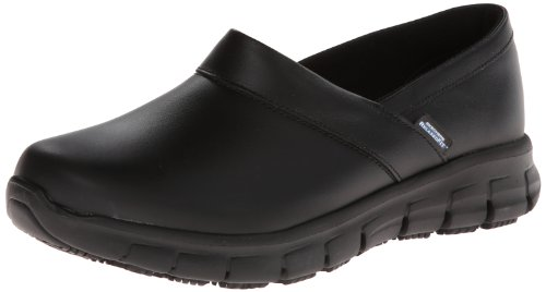 Skechers for Work Women's Relaxed Fit Slip Resistant Work Shoe,Black,10 M US by Skechers