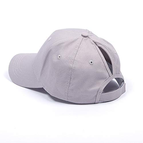 Futemo Baseball Visor Cap Adjustable Ponytail Messy Buns Trucker Plain Dad Hat Tennis Beach Golf Clear Sun Shade Hat (Gray) -