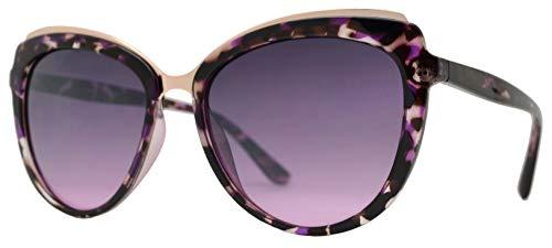 Glam Rock Sunglasses (Froya Women Shades Classic Oversized Sunglasses - Stylish Fashion 100% UV Protection Eyewear (Purple Tortoise + Purple)