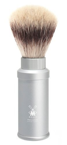 MÜHLE - TRAVEL shaving brush Silvertip Fibre ® - TRAVEL Series - Grip Anodized Aluminium / silver by MÜHLE