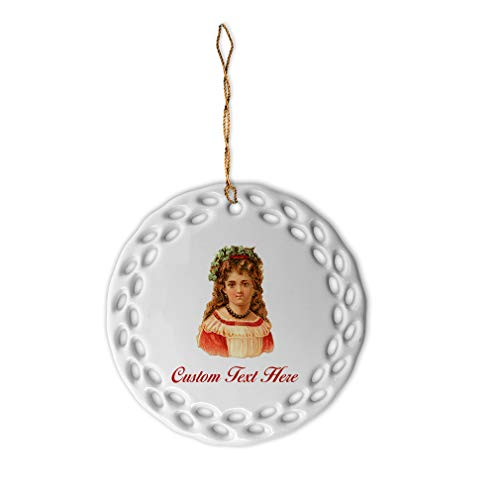 - Custom Personalized Girl with Necklace Vintage Look Porcelain Flower Shape Christmas Ornaments Gold Ribbon 2 Sided Printing Gift Ideas
