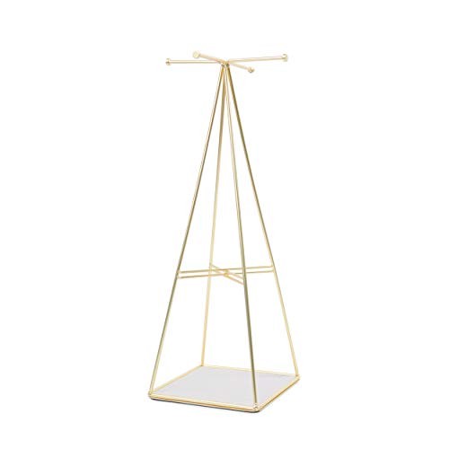 Pyramid Stud Cross - Umbra Prisma Jewelry Stand, Matte Brass