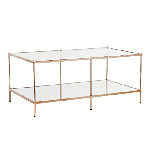 (Southern Enterprises Knox Cocktail Table - Metallic Gold Metal Frame w/Glass Tops - Glam Style)