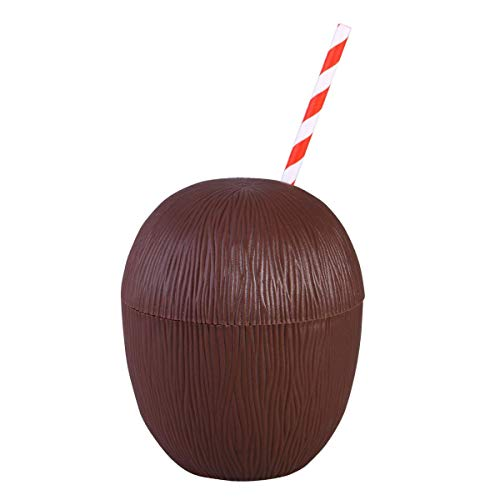 Wedding Festival Party Decoration Coconut Drink Cups Plastic Coconut Cups Hawaiian Tropical Party Cups for Luau Beach Theme Party Supplies(with Straw) ()