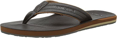 Quiksilver Men's Carver Nubuck 3 Point Sandal, Demitasse/Solid, 10 M (Nubuck Mens Sandals)