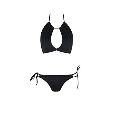 Women's Cut Out Solid Strap Soft Fitted Halter Bra Brief set Bra set