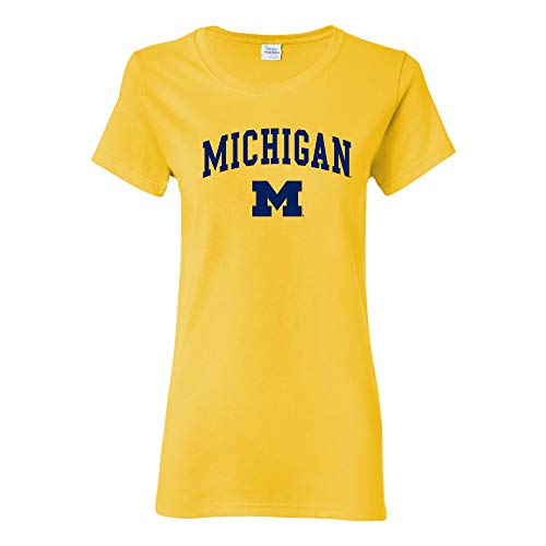 LS03 - Michigan Wolverines Arch Logo Womens T-Shirt - Large - Daisy