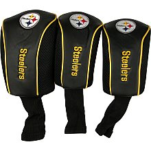 Pittsburgh Steelers 3 Pack Mesh Long Neck Golf Head Cover Set Black - Steelers Golf Head Covers