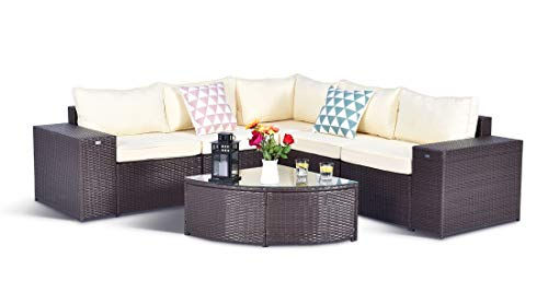 Gotland 6pcs Outdoor Rattan Sectional Sofa Wide Armrest Patio Wicker Furniture Set,with Weather Resistant Cushions & Dustcover (Dark ()